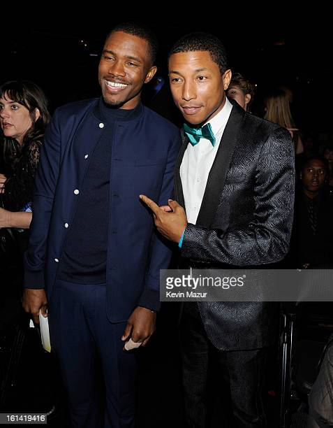 Frank Ocean and Pharrell Williams attend the 55th Annual GRAMMY Awards at STAPLES Center on February 10 2013 in Los Angeles California