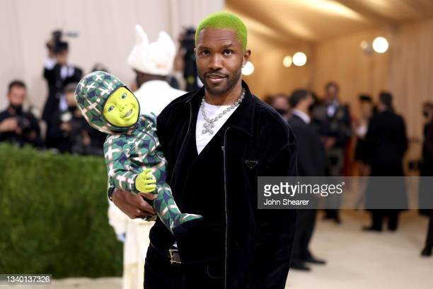 Frank Ocean attends The 2021 Met Gala Celebrating In America: A Lexicon Of Fashion at Metropolitan Museum of Art on September 13, 2021 in New York...