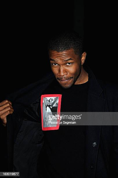 Frank Ocean attends the Givenchy Fall/Winter 2013 ReadytoWear show as part of Paris Fashion Week on March 3 2013 in Paris France