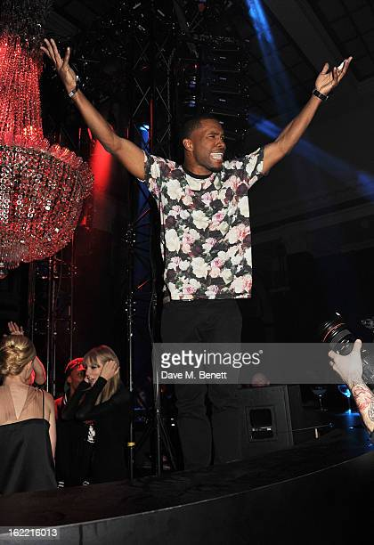Frank Ocean attends the Universal Music Brits Party hosted by Bacardi at the Soho House popup on February 20 2013 in London England