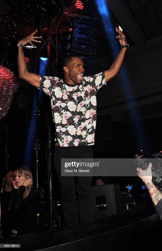 Frank Ocean attends the Universal Music Brits Party hosted by Bacardi at the Soho House pop-up on February 20, 2013 in London, England.