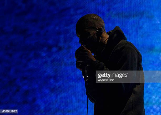Frank Ocean performs on stage during Day 3 of Pemberton Music and Arts Festival on July 20 2014 in Pemberton Canada