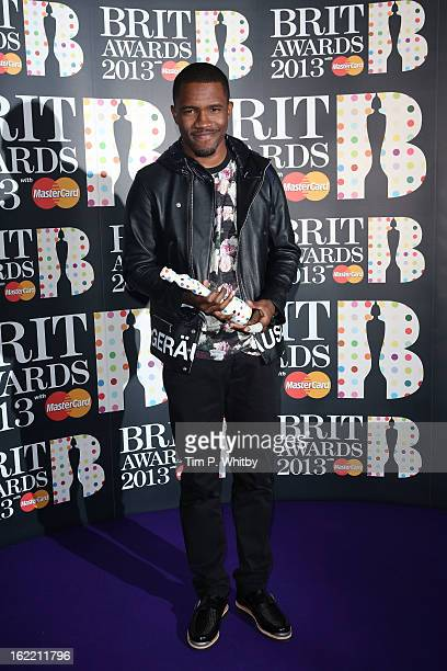 Frank Ocean poses with the International Male Solo Artist award in the press room at the Brit Awards 2013 at the 02 Arena on February 20 2013 in...