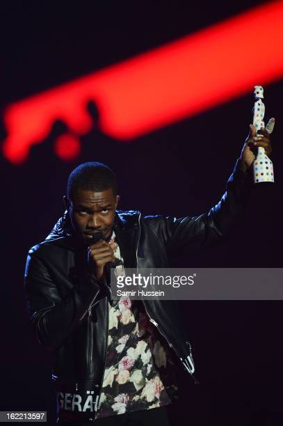 Frank Ocean receives the International Male Solo Artist award on stage during the Brit Awards 2013 at 02 Arena on February 20 2013 in London England