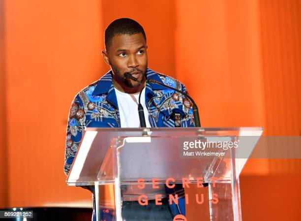 Frank Ocean speaks onstage at Spotify's Inaugural Secret Genius Awards hosted by Lizzo at Vibiana on November 1 2017 in Los Angeles California