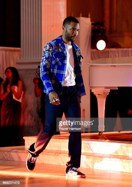 Frank Ocean walks onstage at Spotify's Inaugural Secret Genius Awards hosted by Lizzo at Vibiana on November 1 2017 in Los Angeles California