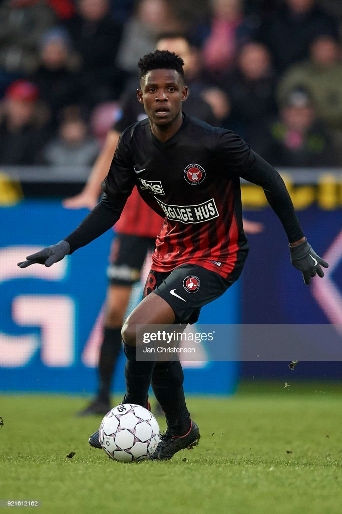 Frank Onyeka of FC Midtjylland in action during the Danish Alka Superliga match between FC Midtjylland and FC Copenhagen at MCH Arena on February 18, 2018 in Herning Denmark.