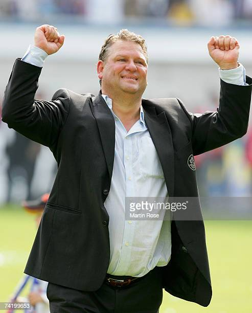 Frank Pagelsdorf headcoach of Rostock celebrates after the Second Bundesliga match between Hansa Rostock and Spvgg Unterhaching at the Ostsee stadium...