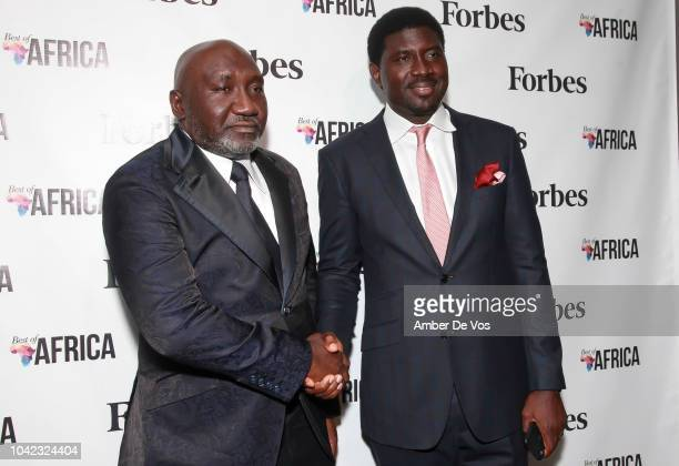Frank Peters and Meka Olowola attend Benedict Peters Receives Forbes Best Oil and Gas Leader of the Year Award Africa at Forbes International on...
