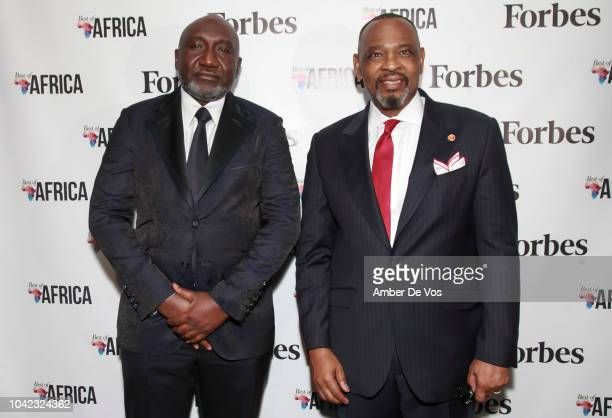 Frank Peters and Victor Okoronkwo attend Benedict Peters Receives Forbes Best Oil and Gas Leader of the Year Award Africa at Forbes International on...