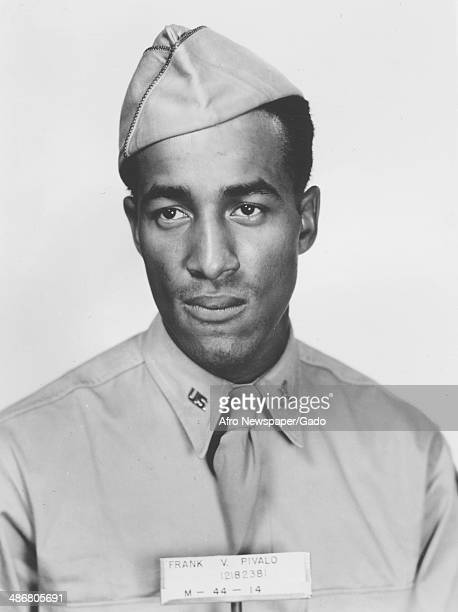 Frank Pivalo head and shoulders portrait taken during his service in World War 2 as part of the Tuskegee Airmen the first squadron of African...