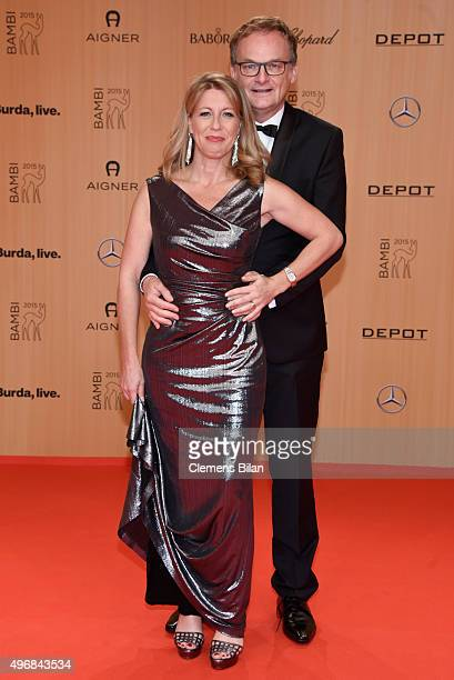 Frank Plasberg and his wife Anne Gesthuysen attend the Bambi Awards 2015 at Stage Theater on November 12, 2015 in Berlin, Germany.
