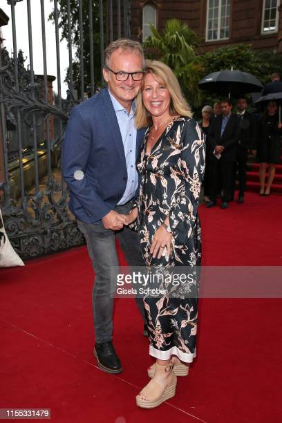 Frank Plasberg and his wife Anne Gesthuysen during the opening of the Nibelungen Theatre Festival at St Peter's Cathedral on July 12, 2019 in Worms,...