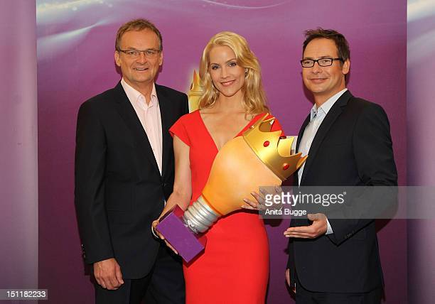 Frank Plasberg Judith Rakers and Matthias Opdenhoevel attend the photocall for the 'The Intellectual German 2012' at Hotel Concorde on September 3...