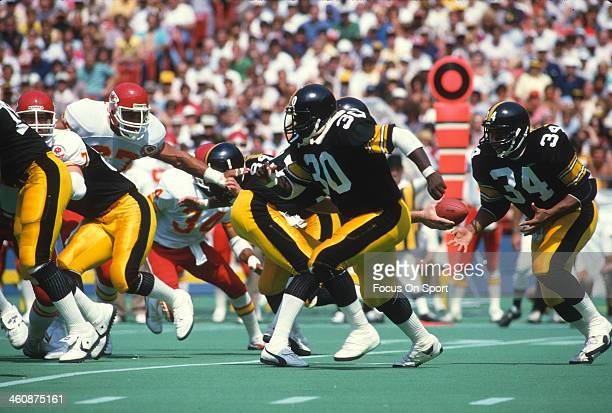 Frank Pollard of the Pittsburgh Steelers leads the way for Walter Abercrombie against the Kansas City Chiefs during an NFL football game September 2...