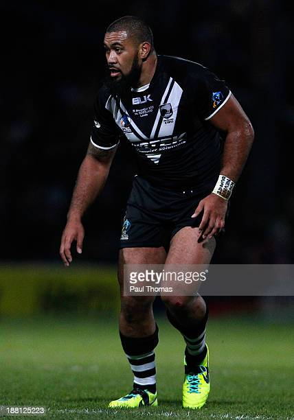 Frank Pritchard of New Zealand in action during the Rugby League World Cup Quarter Final match at Headingley Stadium on November 15, 2013 in Leeds,...
