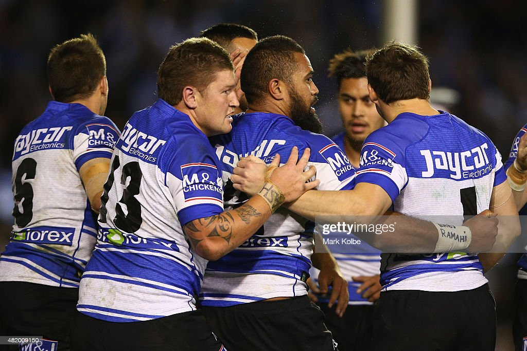 Frank Pritchard of the Bulldogs celebrates with his team mates after scoring a try during the round 20 NRL match between the Canterbury Bulldogs and the Cronulla Sharks at Belmore Sports Ground on July 26, 2015 in Sydney, Australia.