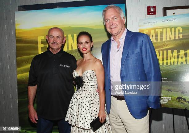 Frank Reese Natalie Portman and Jonathan Sering attend 'Eating Animals' New York Screening at IFC Center on June 14 2018 in New York City
