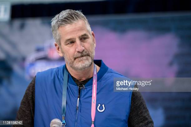 Frank Reich head coach of the Indianapolis Colts is seen at the 2019 NFL Combine at Lucas Oil Stadium on February 28 2019 in Indianapolis Indiana