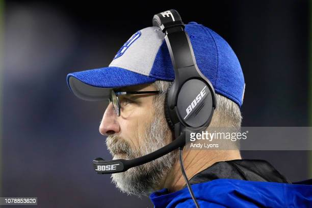 Frank Reich the head coach of the Indianapolis Colts watches the action against the Tennessee Titans at Nissan Stadium on December 30 2018 in...