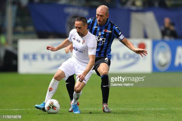 Frank Ribery of ACF Fiorentina in action during the Serie A match between Atalanta BC and ACF Fiorentina at Gewiss Stadium on September 22 2019 in...