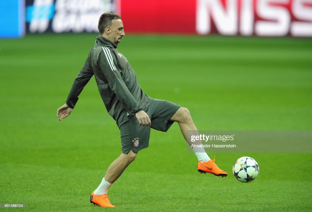 Frank Ribery trains during a Bayern Muenchen training session ahead of their UEFA Champions League round of 16 match against Besiktas at Vodafone Park on March 13, 2018 in Istanbul, Turkey.