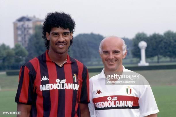 Frank Rijkaard and Arrigo Sacchi head coach of AC Milan pose for photo during the Serie A 1988-89, Italy.