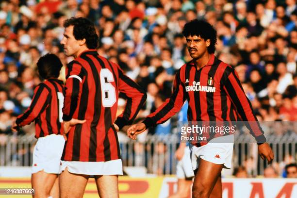 Frank Rijkaard and Franco Baresi of AC Milan react during the Serie A match between Napoli and AC Milan at the Stadio Sao Paulo on November 27, 1988...