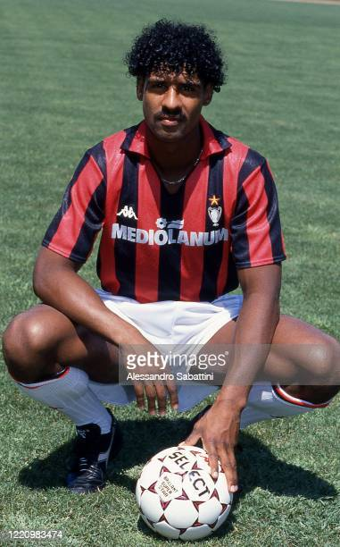 Frank Rijkaard of AC Milan poses for photo with ball, Italy.