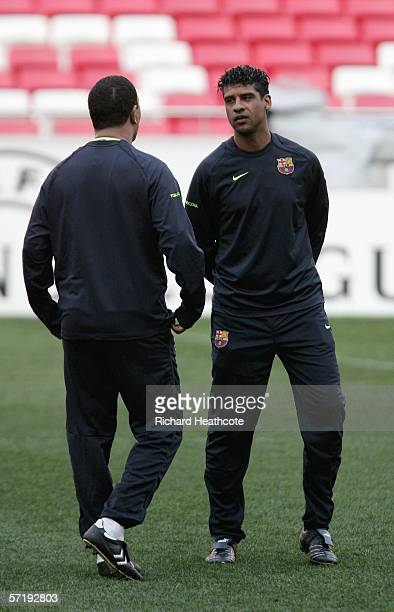 Frank Rijkaard the Barca coach during the Barcelona Press Conference and Training session ahead of the UEFA Champions League quarter final first leg...