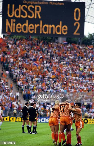 Frank RijkaardRonald KoemanGerald Vanenburg during the European Championship final between Netherlands and USSR at the Olympia Stadium June 25 1988...