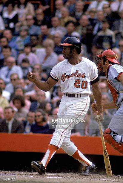 Frank Robinson of the Baltimore Orioles at bat during a 1970 World Series game against the Cincinnati Reds