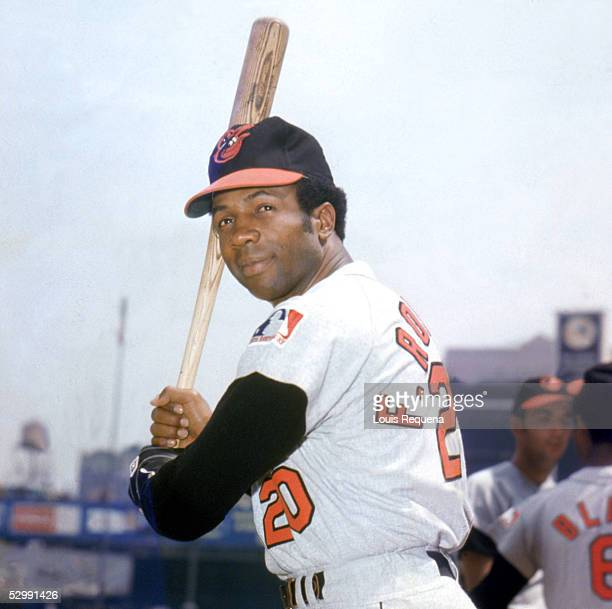 Frank Robinson of the Baltimore Orioles poses before an MLB game at Yankee Stadium in Bronx New York Robinson played for the Baltimore Orioles from...