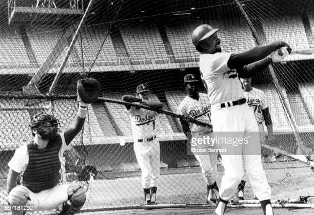 Frank Robinson of the Los Angeles Dodgers takes batting practice for the first time as a Los Angeles Dodger on January 20 1972 at Dodger Stadium in...