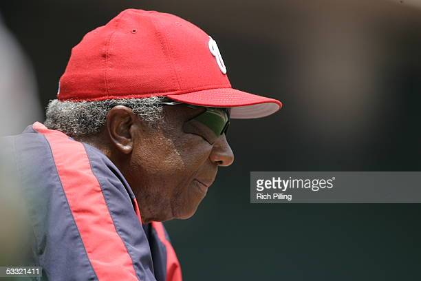 Frank Robinson of the Washington Nationals looks on during the game against the Pittsburgh Pirates at RFK Stadium on June 30 2005 in Washington DC...