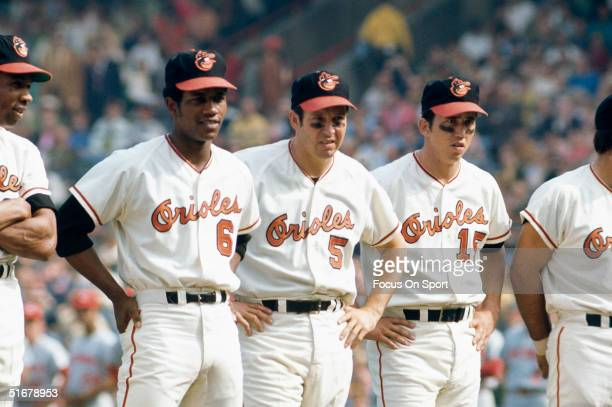 Frank Robinson Paul Blair Brooks Robinson Davey Johnson stand during player intruductions in the 1970 World Series at Memorial Stadium in Baltimore...