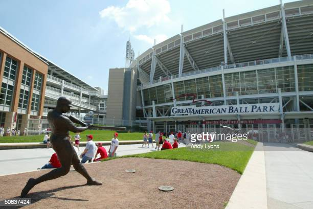 Frank Robinson statue outside the front entrance at The Great American Ball Park on May 9, 2004 in Cincinnati, Ohio.