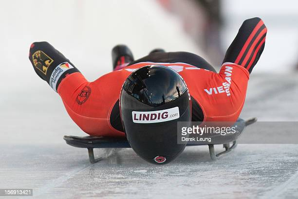 Frank Rommel of Germany competes in the skeleton on day 2 of the IBSF 2012 Bobsleigh and Skeleton World Cup on November 24 2012 at the Whistler...