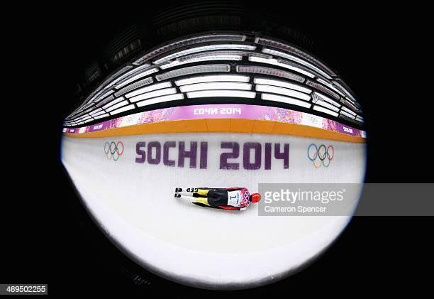 Frank Rommel of Germany makes a run during the Men's Skeleton on Day 8 of the Sochi 2014 Winter Olympics at Sliding Center Sanki on February 15 2014...