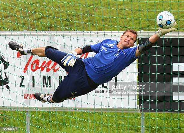 Frank Rost challenges for the ball during a training session at day three of the Hamburger SV training camp on July 8, 2009 in Laengenfeld, Austria.