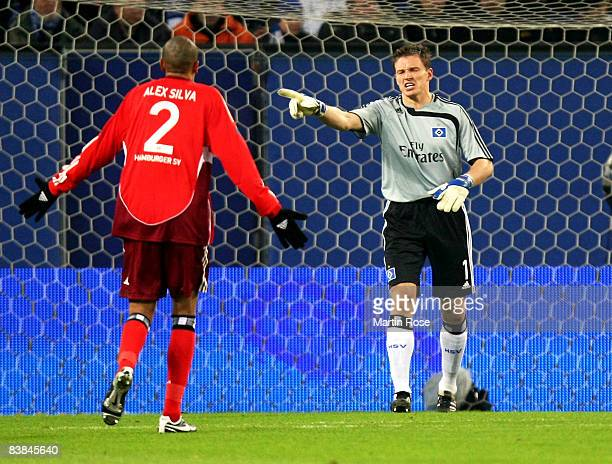 Frank Rost, goalkeeper of Hamburg argues with Alex Silva of Hamburg during the UEFA Cup Group F match between Hamburger SV and Ajax Amsterdam at the...