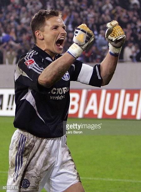 Frank Rost, goalkeeper of Schalke, celebrates scoring the winning penalty during the DFB Pokal Semi Final Match between FC Schalke 04 and Werder...