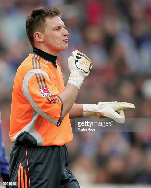 Frank Rost goalkeeper of Schalke gives instructions during the Bundesliga match between Hanover 96 and FC Schalke 04 at the AWD Arena on March 4 2006...
