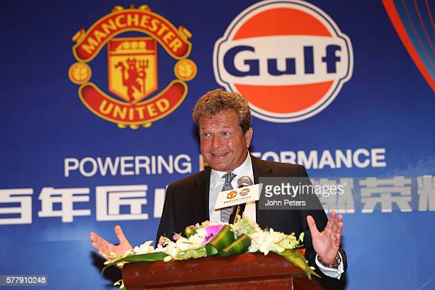 Frank Rutten international vice president of Gulf Oil speaks at a press conference to announce Gulf Oil as new club partners on July 20 2016 in...