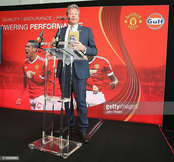 Frank Rutten international vice president of Gulf Oil speaks at the launch of a partnership between Manchester United and Gulf OIl at Aon Training...