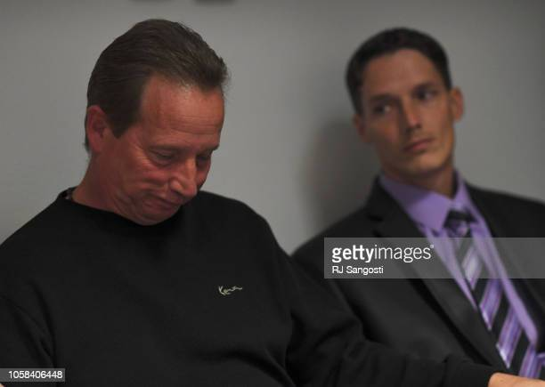 Frank Rzucek the father of Shanann Watts and her brother Frankie Rzucek listen to the Weld County District Attorney during a press conference at the...