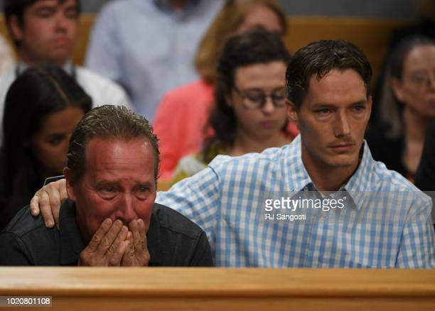 Frank Rzucek the father of Shanann Watts left and her brother Frankie Rzucek were in court for Christopher Watts arraignment hearing at the Weld...