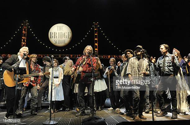 Frank Sampedro Lukas Nelson Neil Young Eddie Vedder and John Doe perform the as part of the Finale at the 26th Annual Bridge School Benefit at...