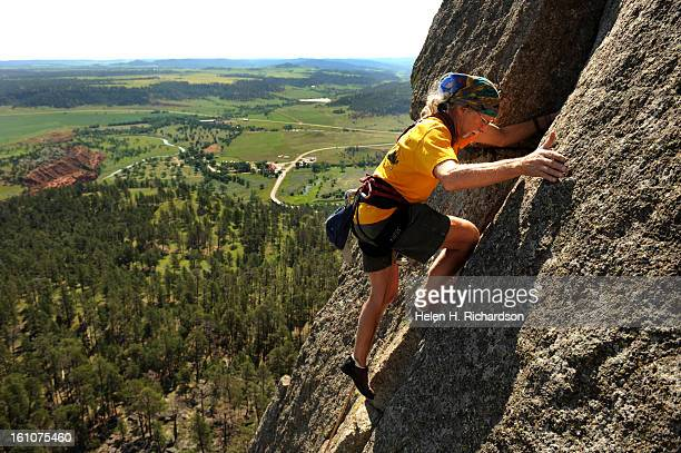 Frank Sanders seemingly walks up the second pitch of New Wave a 510A climb on the northeast face of the tower Frank Sanders is a longtime climber who...
