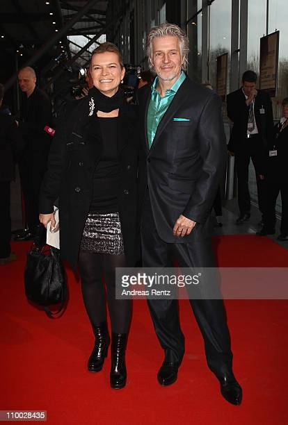 Frank Schaetzing and wife Sabina Valkieser-Schaetzing attend the Steiger Award 2011 at the Jahrhunderthalle on March 12, 2011 in Bochum, Germany.